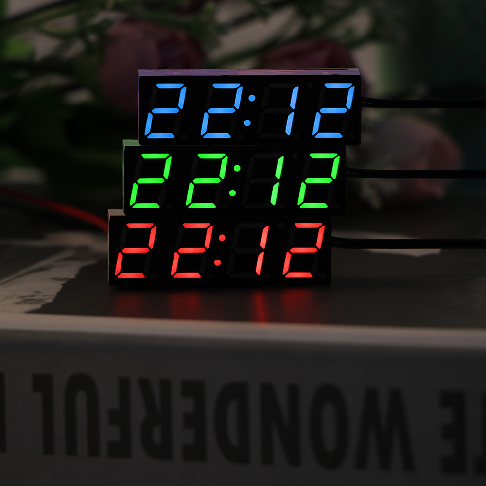 Careful Car Electric Clock Digital Timer Led Temperature Clock Thermometer Voltmeter Led Display Digital Clock Green Blue Red Light