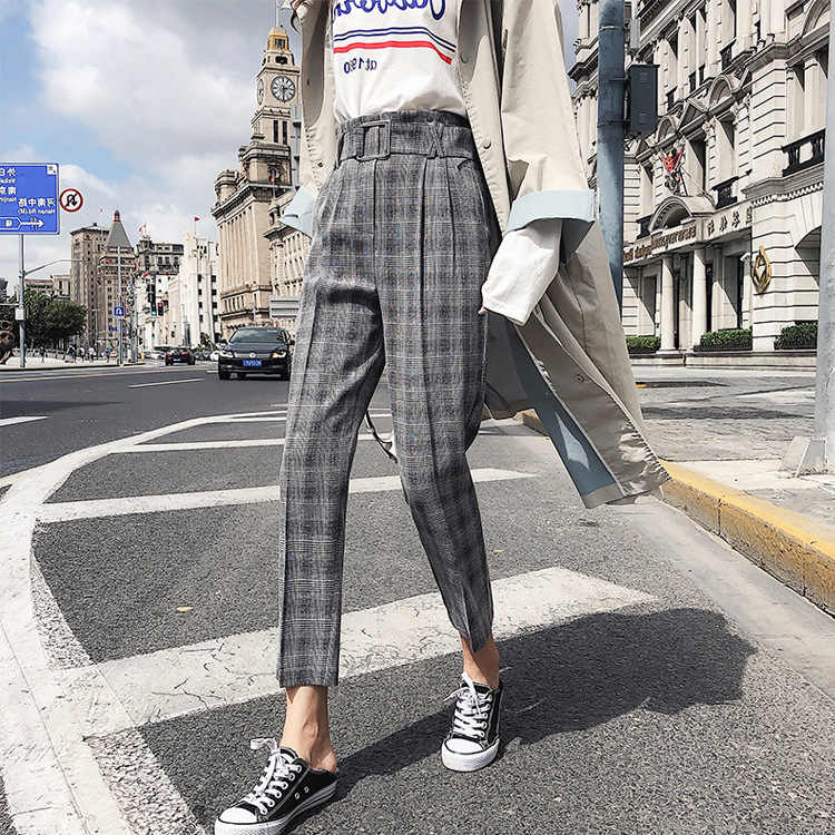 Spring Vintage Gray Grid Casual Pants Women Pants OL Trousers 2018 New Female Streetwear Capris Summer Pants Office Ladies
