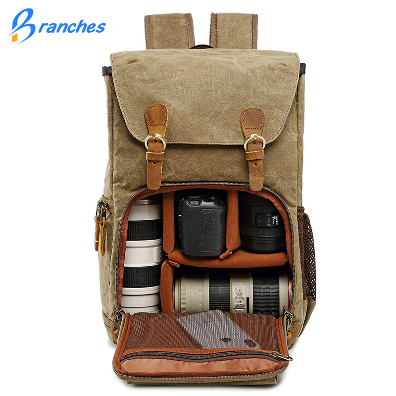 Batik Canvas Waterproof Photography Bag Outdoor Wear-resistant Large Ca