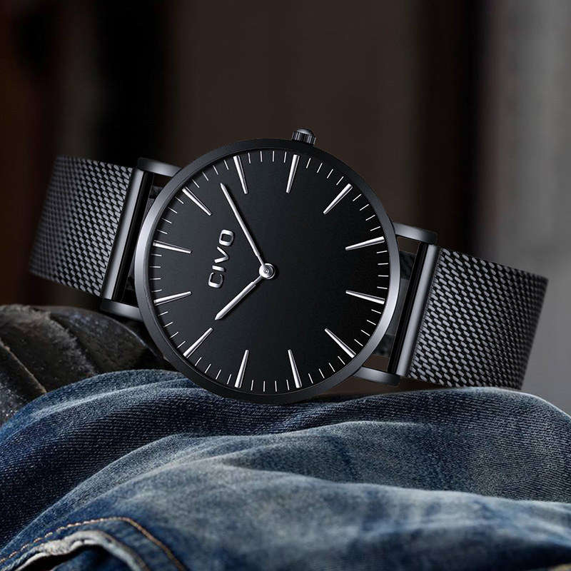 CIVO Mens Watches Reloj Hombre Ultra Thin Quartz Watches For Men Waterproof Stainless Steel Mesh Business Analogue Mens WatchCIVO Mens Watches Reloj Hombre Ultra Thin Quartz Watches For Men Waterproof Stainless Steel Mesh Business Analogue Mens Watch