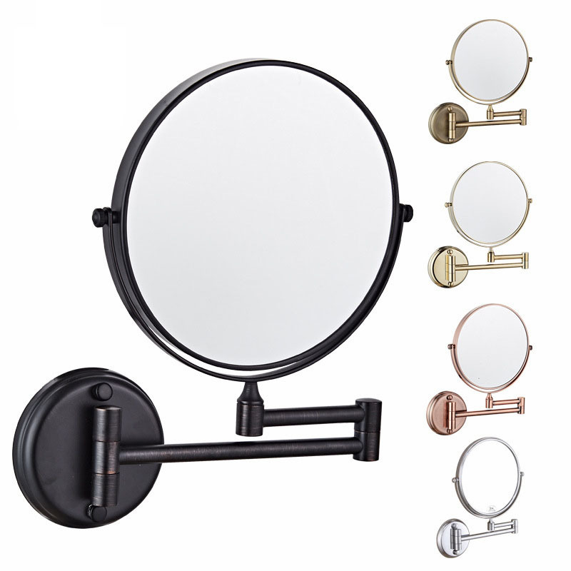 8 Inch Wall Hanging Mirror Foldable Double sided Bathroom Decorative Mirror Hd Rotating Round Shaving Makeup 3x Magnifying Glass