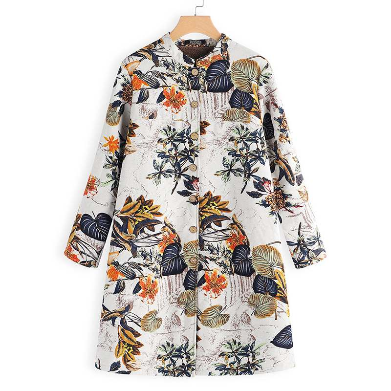 Plus Size Jacket Women Floral Printed Coats Fleece Button Down Jackets Female Autumn Winter Long Sleeve Outerwear Overcoat Tops