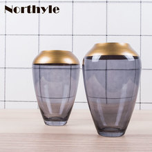 Classic golden theme glass vase wedding decoration floor home decor flower christmas