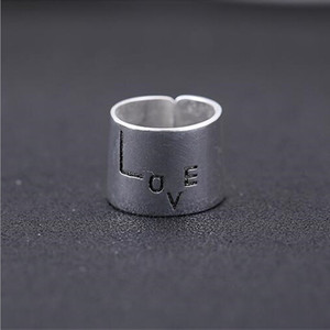 Anillos 100% Tibetan Silver Love Rings For Women Wide Surface 18mm Design Vintage Thai Jewelry Open Ring For Lover Best Gift