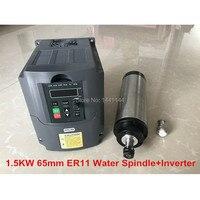 1.5KW ЧПУ шпиндель двигатель с водяным охлаждением шпинделя 65/80 мм ER11 двигатель + 1.5KW/220 В Инвертер частотного преобразователя для фрезерных ст