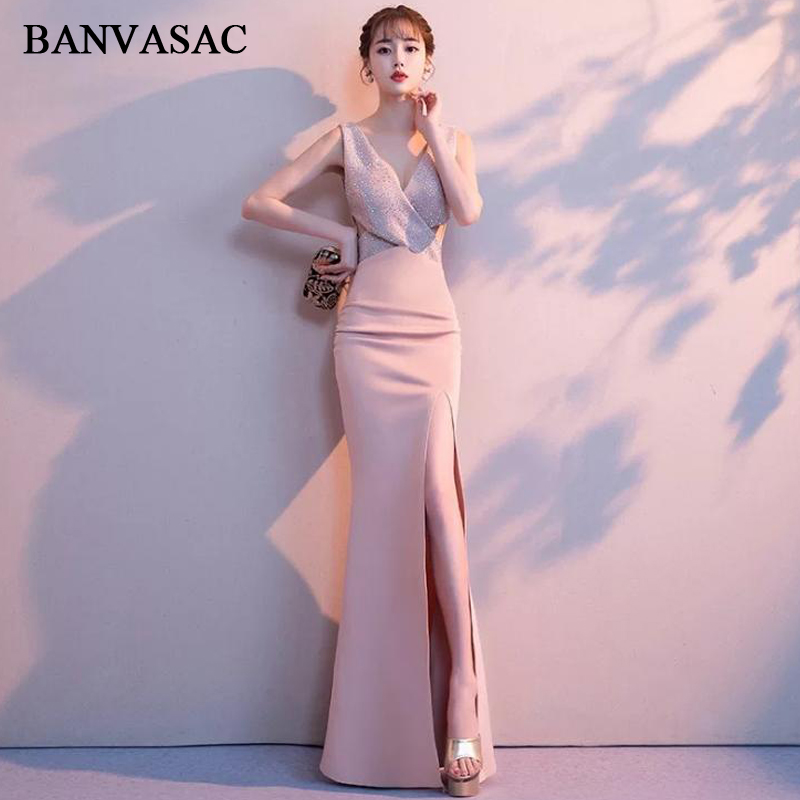BANVASAC 2019 Deep V Neck Luxury Crystal Mermaid Long Evening Dresses Elegant Split Backless Party Prom Gowns in Evening Dresses from Weddings Events