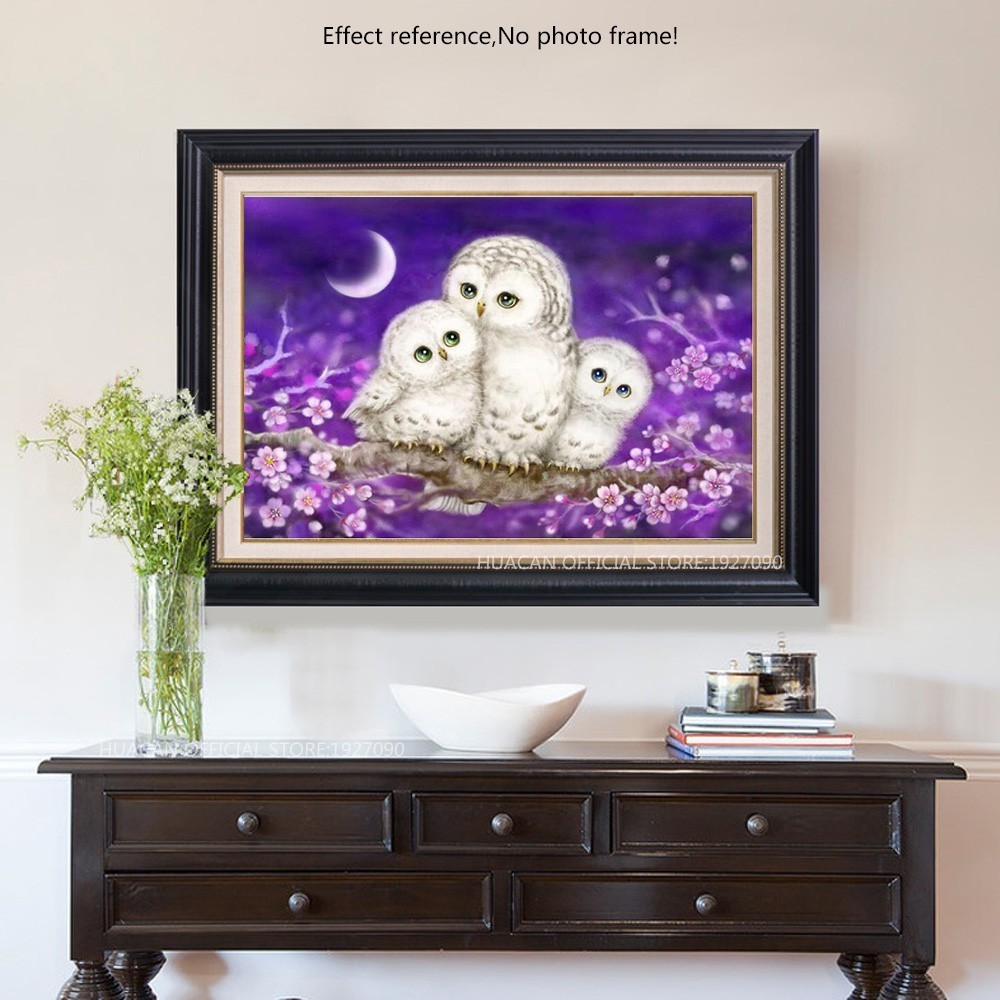 Huacan Full Lovely Owl Diamond Painting Mosaic Bedroom Decor Rubik S Cube Round Embroidery Cross Sch Cartoon H In