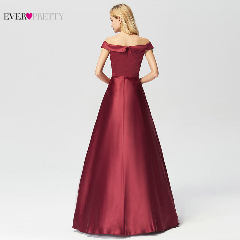 Image 4 - Evening Dresses Long 2019 Ever Pretty Elegant A line Burgundy Off Shoulder Sleeveless New Arrival Special Wedding Occasion Gowns-in Evening Dresses from Weddings & Events