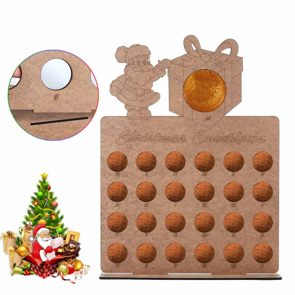 1pcs Wooden Christmas Advent Calendar Santa Claus Elk Handmade New Year Hollow Out Countdown Home Decor Chocolate Holder