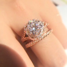 AAA Zircon Engagement Gemstone Rings for Women 18K Rose Gold Wedding Anillos De Female Anel Crystals Amethyst Bizuteria