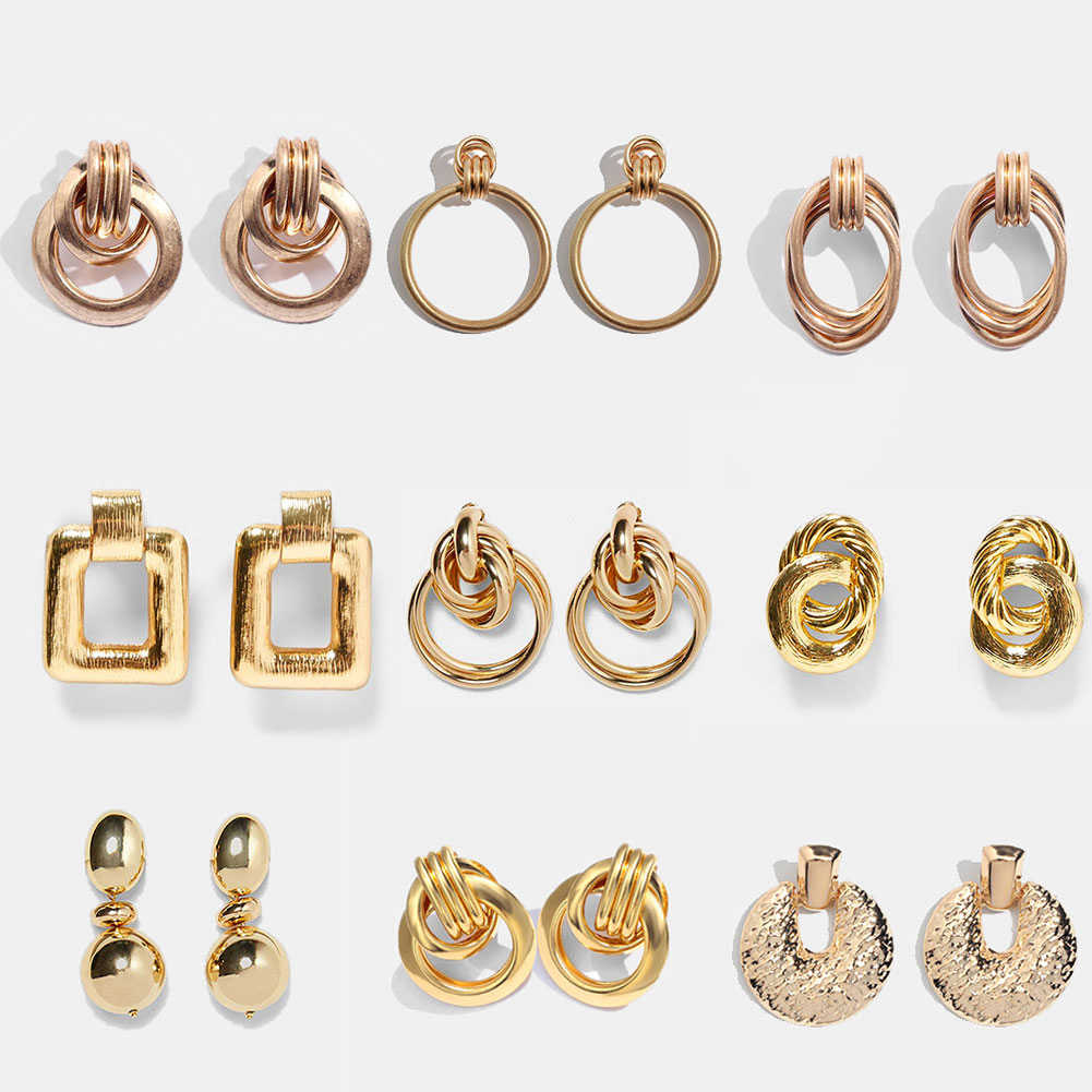 JUST FEEL ZA Round Geometric Dangle Earrings For Women Vintage Gold Color Punk Trendy Statement Drop Earring Metal Alloy Jewelry