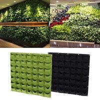 25 Black/Green 49 Pockets Vertical Felt Garden Wall Hanging Planter Plants Growing Container Bag 2017
