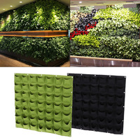 25 Black/Green 49 Pockets Vertical Felt Garden Wall Hanging Planter Plants Growing Container Bag 2017