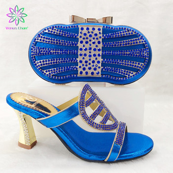 Hot selling Royalblue Shoes and Bag Matching Italian Shoes and Bag Set Decorated with Rhinestone Designer Shoes 9cm B94-5