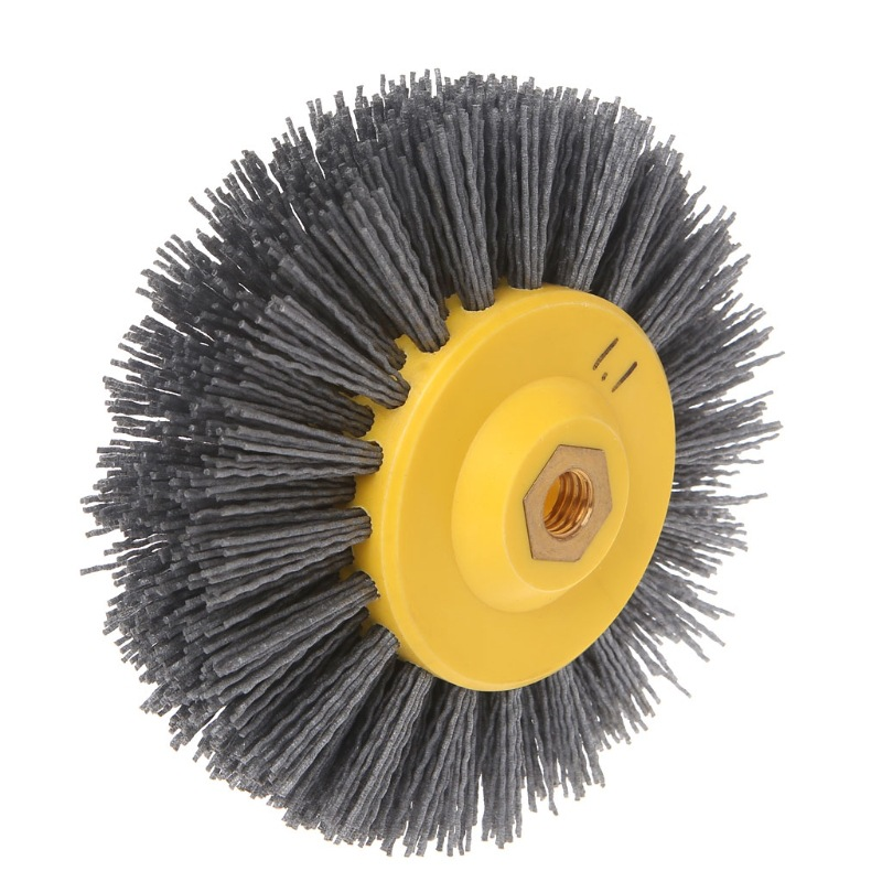 1pcs 15x4x1.4cm Nylon Abrasive Wire Polishing Brush Wheel For Wood Furniture Stone Antiquing Grinding P180 /P120/P80/P60