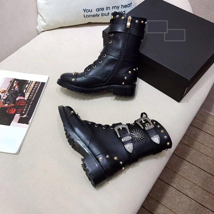 Moto Chaussures fur Cuir Pour D'hiver En Chaud Véritable Bottes Clouté De Automne Inside Inside Sheepskin Boucle Métal Femme Chevalier Zapatos Mujer txOH10qtw