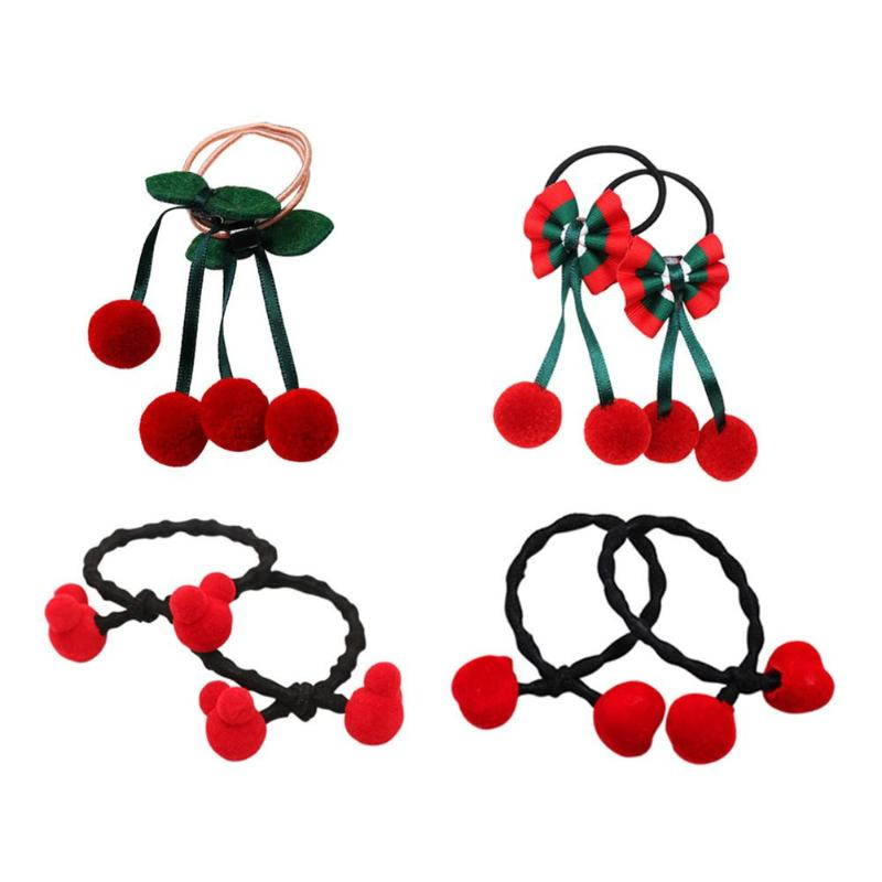 2pcs Cute Cherry Hair Ropes Rubber Band Cute Hair Tie Red Heart Elastic Band For Women Girl Hair Accessories Scrunchies Ponytail