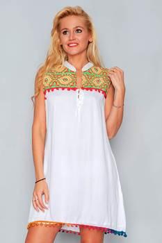 Vestido Bordados Hhg Verano Mujer Redondo Sin Mangas Blanco Hombros Cuello Moda RALq354j