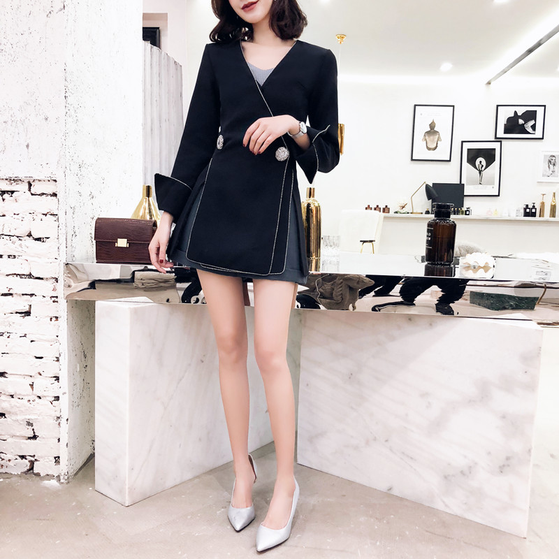 DEAT 2019 new V neck flare lseeves two buttons slim high fashion women single suit OL sexy jacket all match WD61801XL-in Blazers from Women's Clothing    3