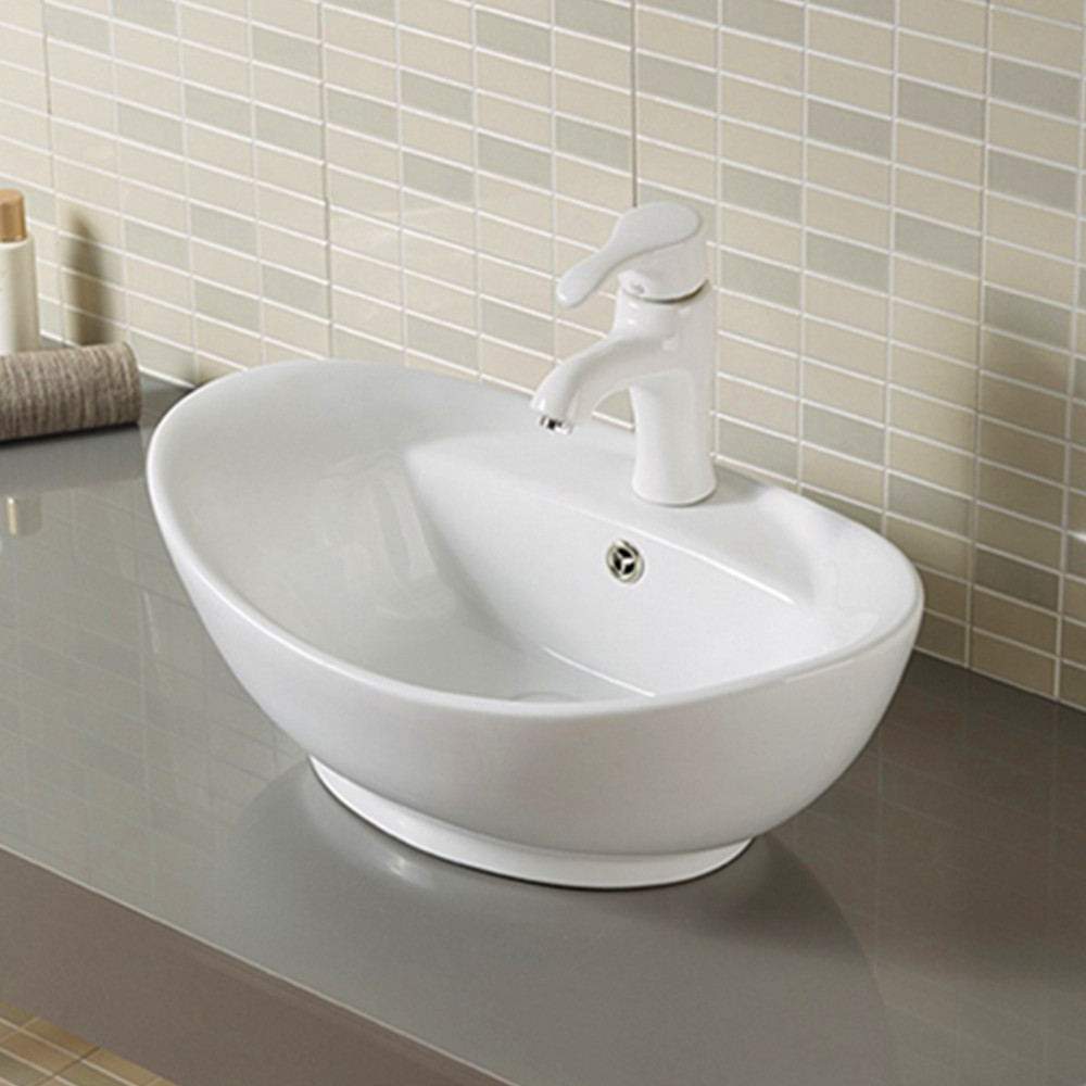 Basin Sink Vanity Bathroom Bowl Counter top Ceramic Vessel Cloakroom with Tap Hole