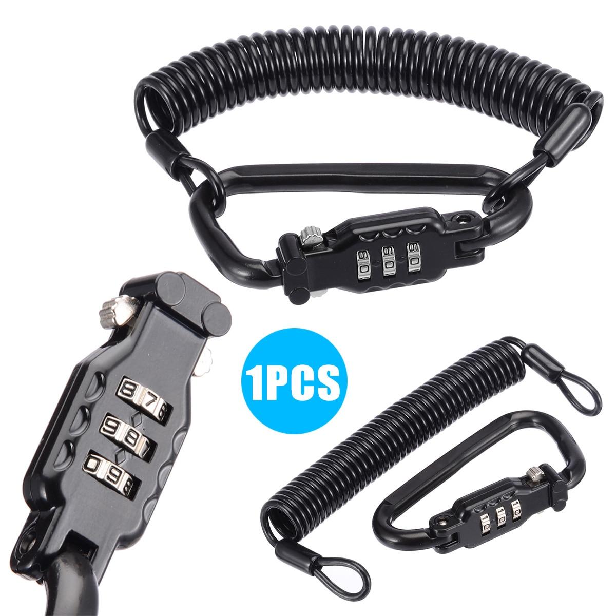 Treyues Universal Motorcycle Helmet Lock 999 Secret PIN Code Helmet Combination Lock 1.8M Braided Steel Cable
