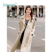INMAN 2019 Spring New Arrival Turn down Collar Retro Hongkong Style Casual All-match Conclude Belt Long Sleeves Women Coat
