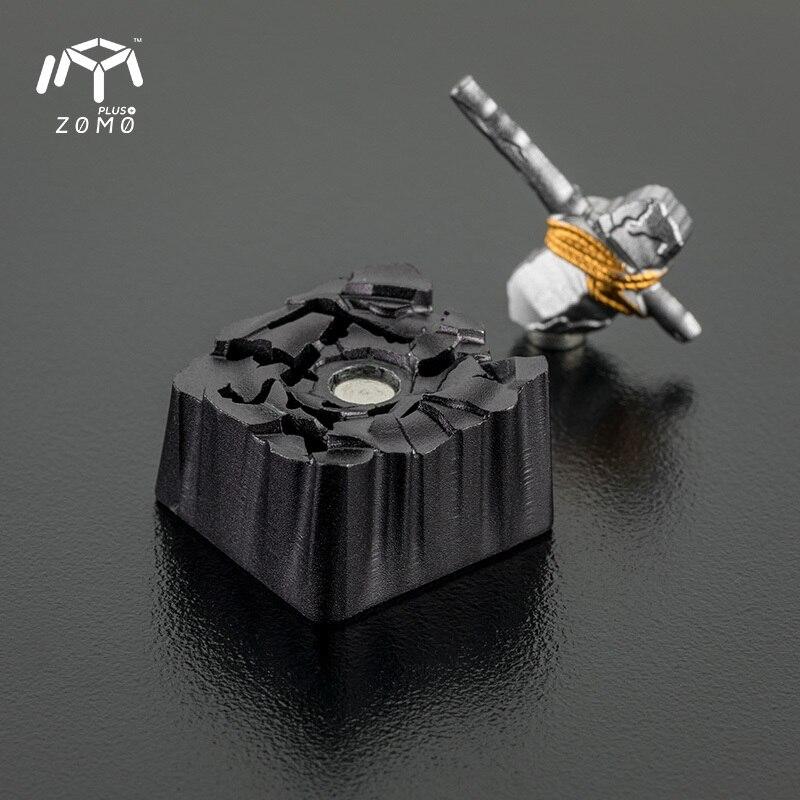 1 pc ZOMO pierre marteau aimant séparation personnalité originale bouchon de clé plein métal translucide mécanique clavier Keycap - 2