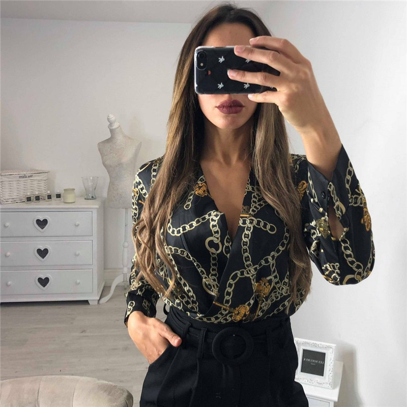 Sexy Print Bodysuit Women Tops Long Sleeve Autumn Winter Deep v neck Slim Bodysuits Rompers Womens Jumpsuits bodysuis