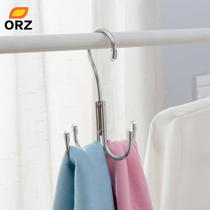 ORZ Greative 4 Hanger Hooks Stainless Steel Clothes Shoes Drying Rack Wardrobe Storage Hanger Organizer Wall Key Holder Rack