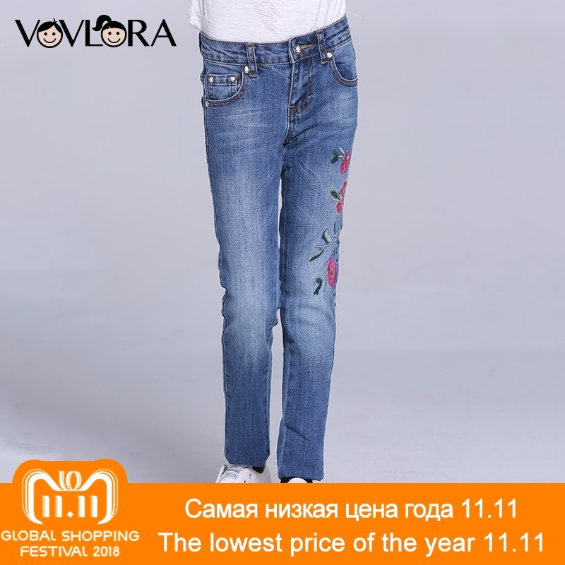 Girls Jeans Pants Embroidery Pencil Kids Jeans Trousers Denim Floral Casual Children Clothing Spring 2018 Size 7 8 9 10 11 12 Y afs jeep autumn jeans mens straight denim trousers loose plus size 42 cowboy jeans male man clothing men casual botton page 2