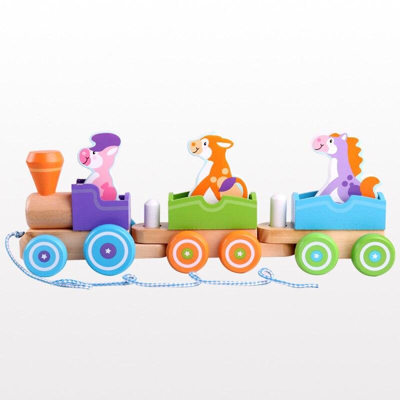 Bébé jouets enfants remorque en bois Train véhicule blocs animaux Congnitive blocs enfant éducation anniversaire/cadeau de noël