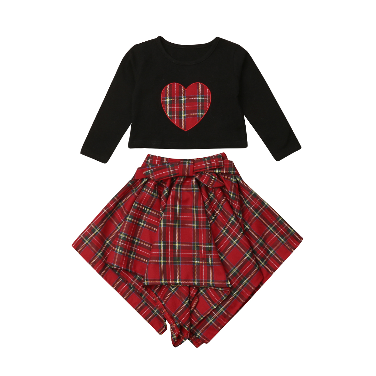 Girl Love Print Bow Belt Plaid Cute Cotton Skirts Casual Clothes Sets Kids Baby Girls Clothing T-shirt Tops Long Sleeve 1-6T plaid