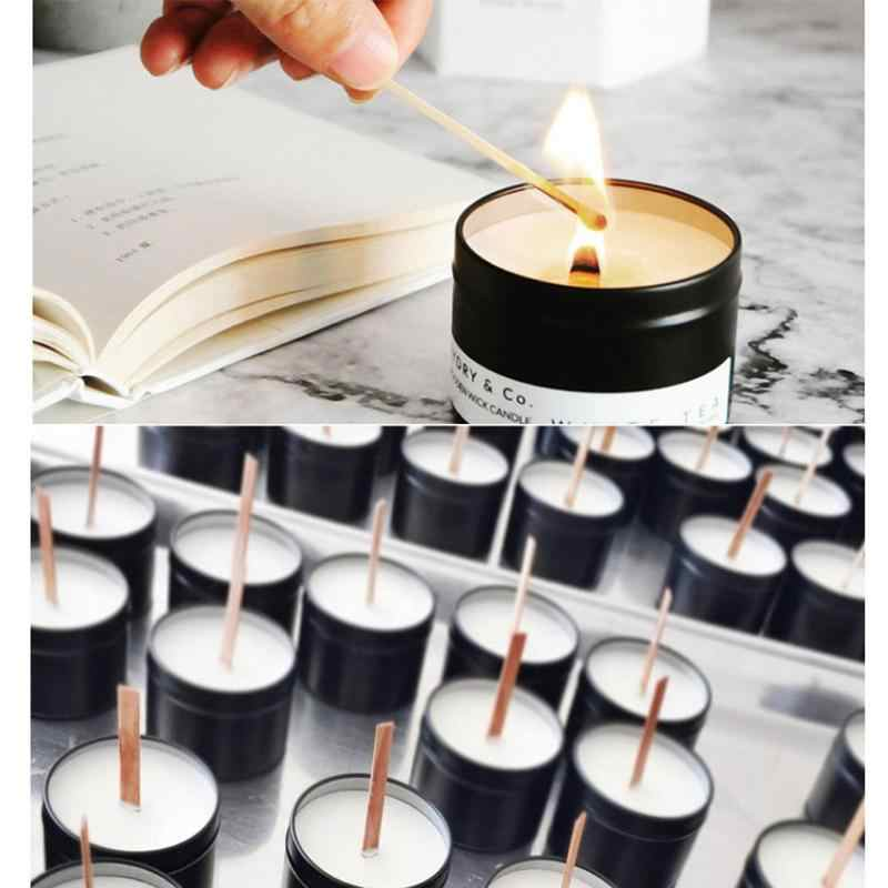 100 PCS Wood Candle Wicks Natural Environmental Friendly Wick for Candle Making and Candle DIY Craft with Metal Base