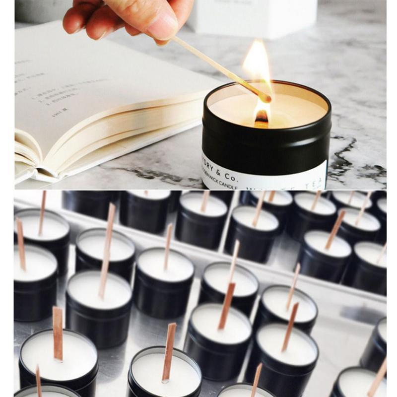 100 PCS Wood Candle Wicks Natural Environmental Friendly ...