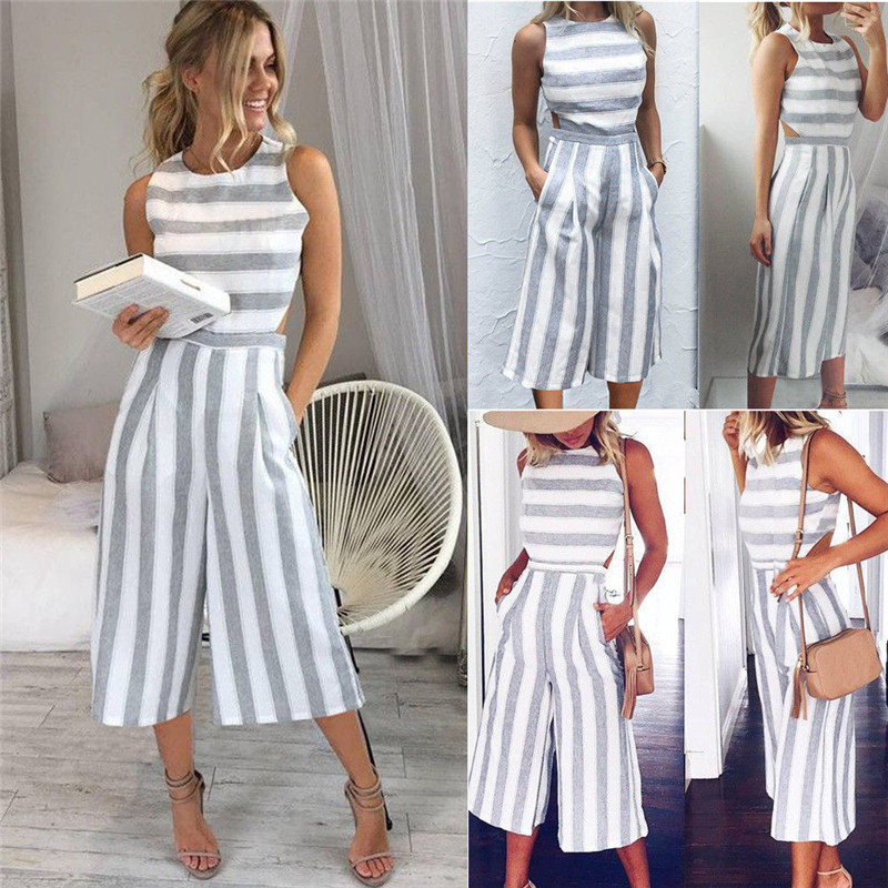 Elegant Sexy Backless   Jumpsuits   Women Sleeveless Striped   Jumpsuit   Loose Trousers Wide Leg Pants Rompers Fashion Holiday Overalls