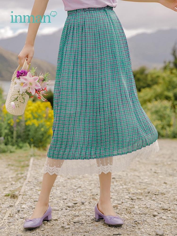 INMAN Summer Plaid Fold Elastic Waist Romantic Lace Elegant Women Skirt