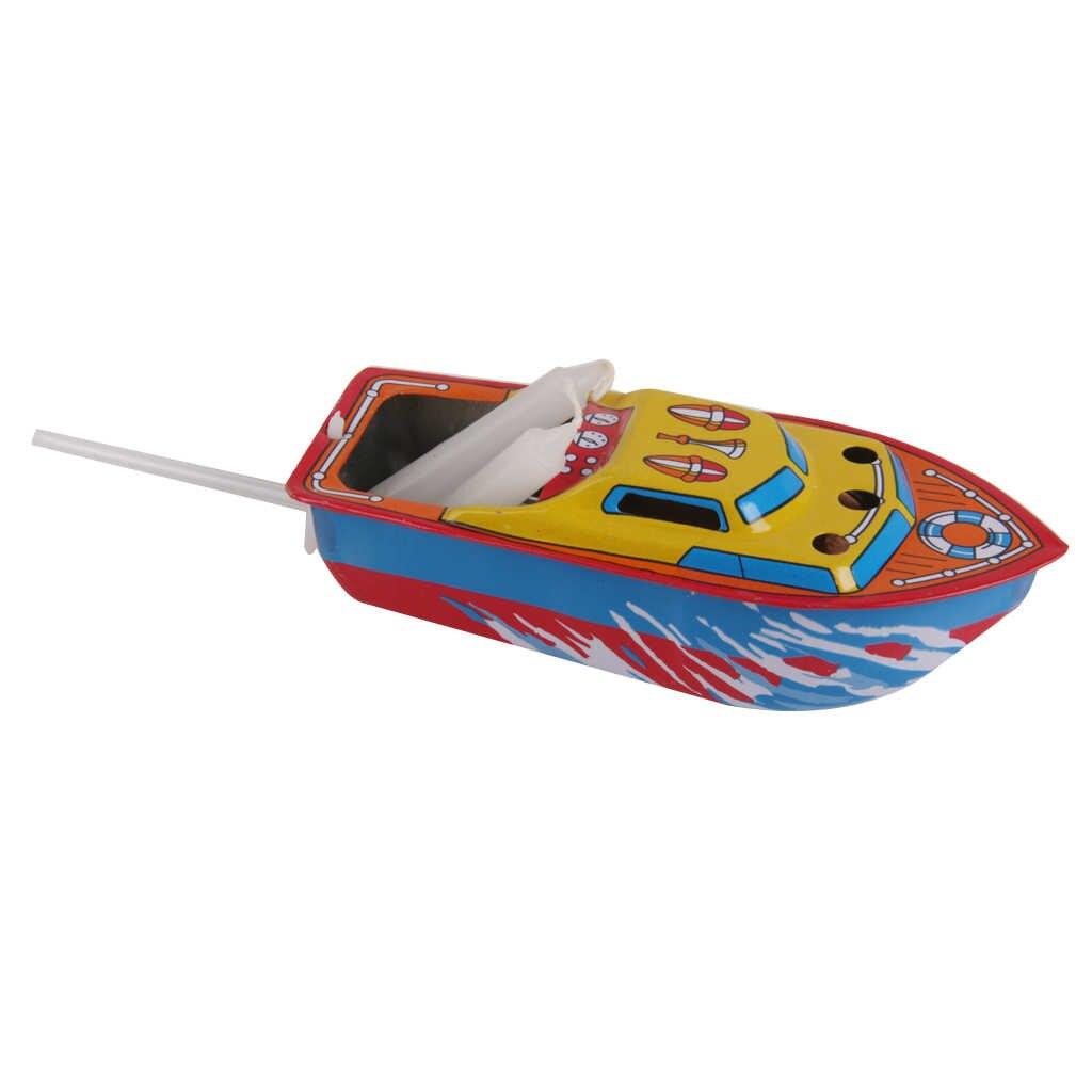 Kolorowa łódź zasilana świecą Retro blaszana zabawka Vintage kolekcjonerska