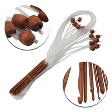 Mayitr 12pcs/Set Natural Bamboo Flexible Tunisian Carpet Crochet Hooks Needles 12 sizes 3mm-10mm