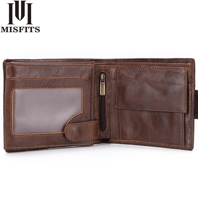 Кошелек MISFITS мужской из натуральной кожи, винтажный короткий бумажник с кармашком для мелочи, кредитница на молнии