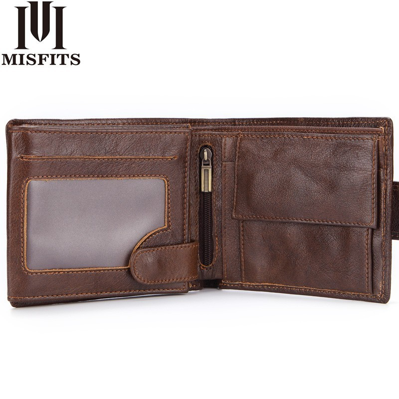 MISFITS Genuine Leather Wallet Men With Coin Pocket Vintage Short Purse For Male Carteira Masculina Card Holder Zipper Money Bag