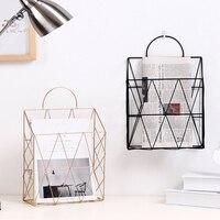 Metal Gold Storage Basket Fashion Nordic Elegant Wall Hanging Portable Net Iron Storage Basket Desk Magazine Newspaper Organizer