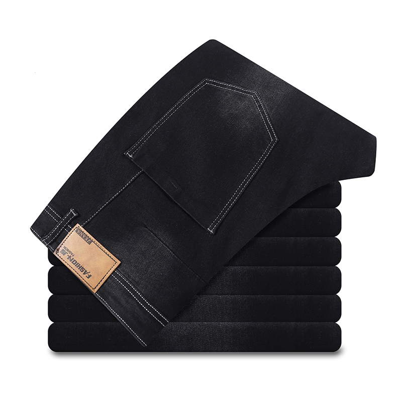 Size Big Men Jeans 10XL 12XL Trousers Business Office Pants High Waist Elasticity Straight Spring And Autumn Stretch Jeans