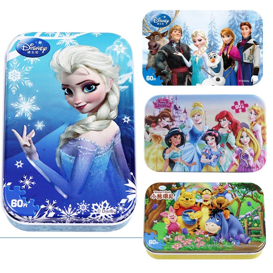 Hot Sale Disney Frozen Car Disney 60 Slice Small Piece Puzzle Toy Children Wooden Jigsaw Puzzles Kids Educational Toys For Baby(China)