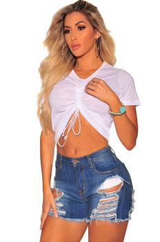 Womens Summer Sexy High Waist Tassel Ripped Hole Jeans Denim Shorts 2019 Women Casual Loose Boyfriend Shorts Plus Size