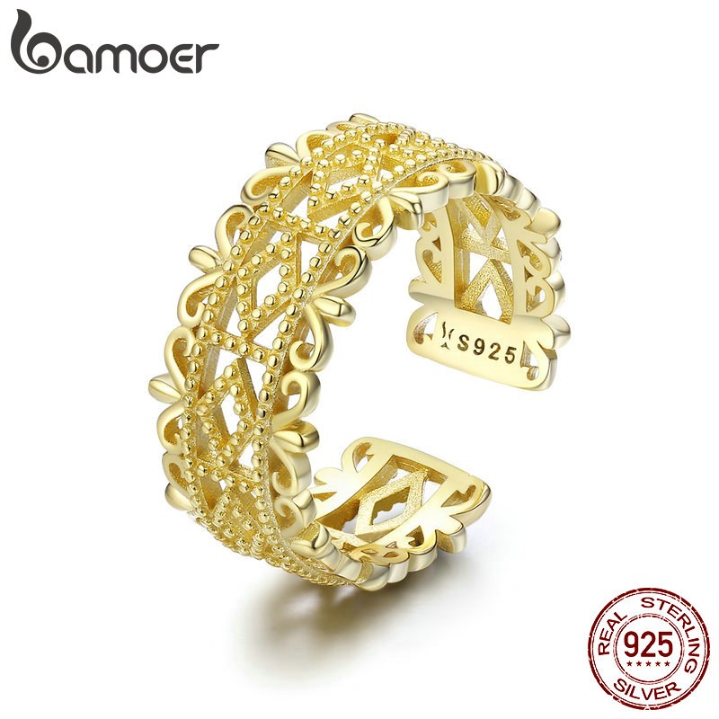 BAMOER Authentic 100% 925 Sterling Silver Lace Charming Adjustable Rings for Women Wedding