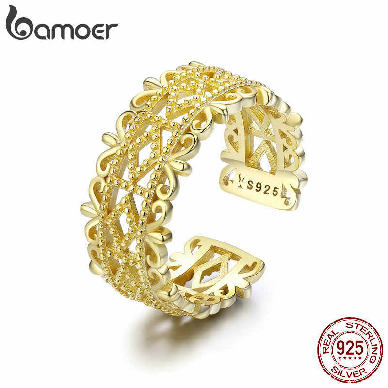 BAMOER Authentic 100% 925 Sterling Silver Lace Charming Adjustable Rings for Women Wedding Engagement Jewelry anel SCR461