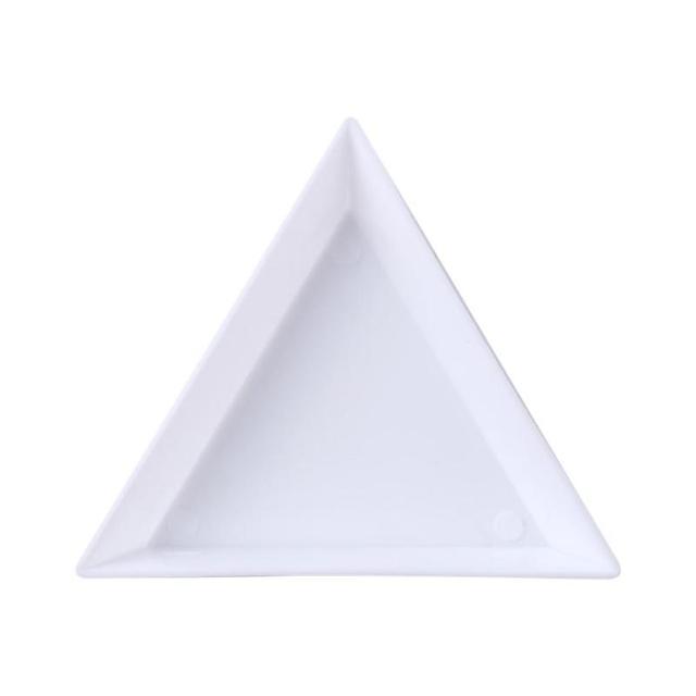 Herramienta de manicura con bandeja de almacenamiento de taladro de placa de punteo triangular de diamantes de imitación para decoración de uñas