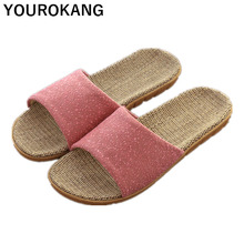 Summer Women Home Slippers Indoor Couple Shoes Unisex Lightweight Flax Slippers High Quality Brand Linen Footwear Leisure Newest