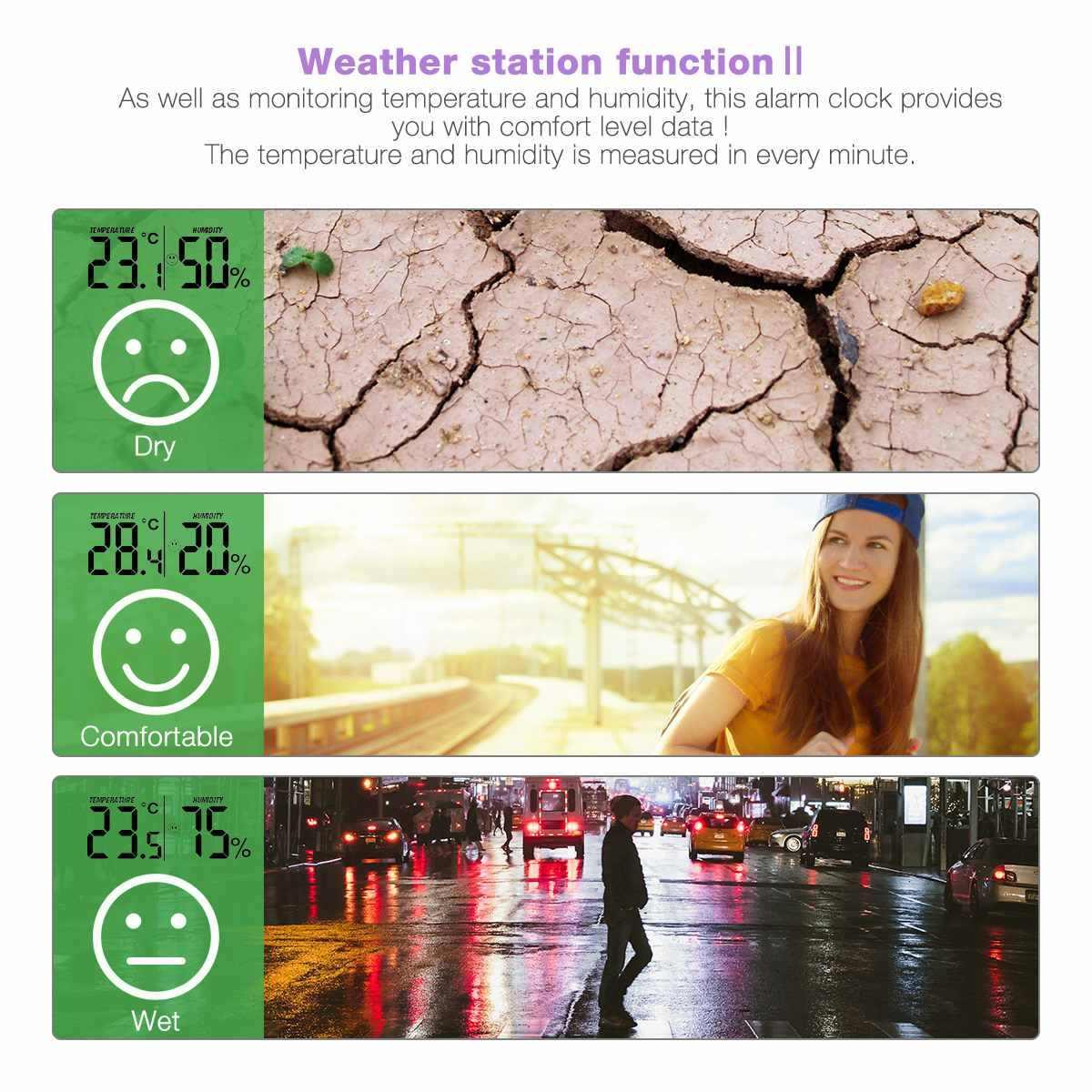 Digoo DG-FR100 couleur sans fil FM Radio horloge numérique Snooze double-réveil prévisions météo calendrier température humidité