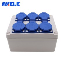 цена на Household Waterproof Socket Junction Box 6 Holes Multifunctional Outdoor Rainproof Socket Box With Wire Connectors Cable Glands